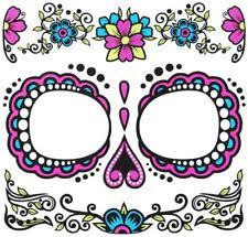 adults womens day of the dead face temporary tattoo costume
