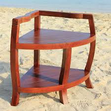 sustainable teak spa corner shower stool with shelf with lift aide