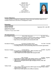 Sample Resume Management Position by Resume Management Trainee Ling Pei Yee