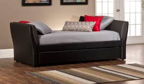 Leather Daybed With Trundle Furniture Black Leather Daybed With Trundle Having Striped Grey