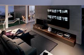 modern living room with dark wood media center interior design