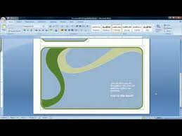 how to make a card using microsoft word 2007 youtube
