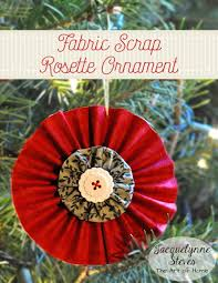 Quilted Christmas Ornaments To Make - easy and quick to make rosette fabric scrap christmas ornament by