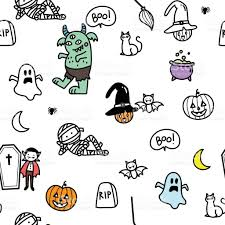 cute halloween doodle pattern stock vector art 831869204 istock
