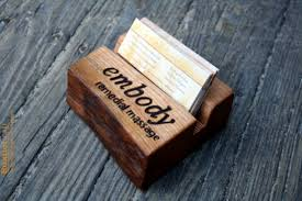 personalized business card holder rustic wood fathers day gif