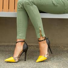 yellow heels with ankle strap is heel