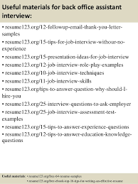 Back Office Resume Sample by Top 8 Back Office Assistant Resume Samples