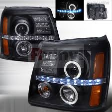 cadillac escalade headlights spec d tuning cadillac escalade 2002 2006 black projector headlights