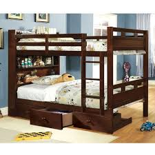 Bunk Bed Headboard Furniture Of America Chessin Walnut Bunk Bed With Built In