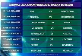 Jadwal Liga Chion Jadwal Pertandingan Liga Chions 2017 Babak 16 Besar Terbaru
