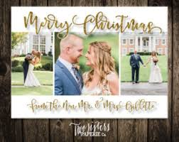 newly wed christmas card wedding thank you card christmas wedding photo thank you card