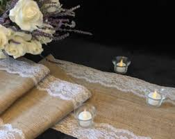 burlap table runner purple lace wedding table runner
