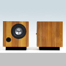 minimalist computer speakers the cube speakers in heart pine fern u0026 roby