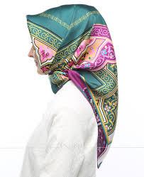 silk home silk home mor yeşil renkli karışık desenli twill ipek eşarp