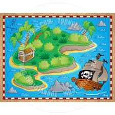 Treasure Island Map Cartoon Theme With Island And Treasure By Clairev Toon Vectors
