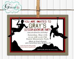 rock climbing party invitation adventure birthday invitation