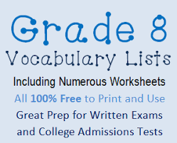 vocabulary lists for grade 8 student handouts