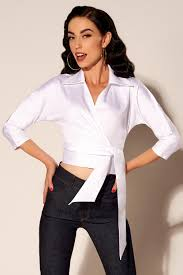 white wrap blouse sleeve wrap top in white pinup clothing