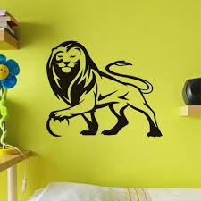 lion wall sticker home decor vinyl line drawing animal wall decal