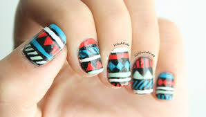 polish pals red turquoise and mint tribal nails