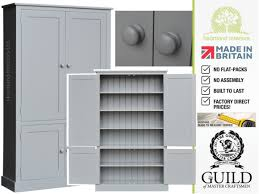 grey painted solid wood 4 door pantry linen bathroom kitchen