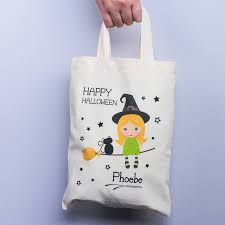 halloween personalised witch trick or treat gift bag by