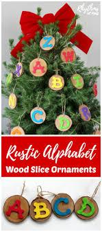 rustic alphabet wood slice ornaments rhythms of play