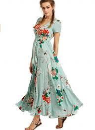 floral maxi dress women s boho v neck high waist slit floral maxi dress novashe