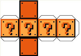 free mario bros question mark block paper craft printable