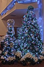 silver purple and blue themed tree in led lights by