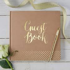wedding guest book brown kraft and gold foiled wedding guest book by