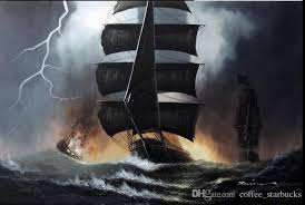 2018 framed sailing ships stormy heavy seas waves lightning pure hand painted seascape art oil painting on canvas from coffee starbucks 19 9 dhgate com