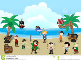 illustration of pirate kids on beach stock vector image 52469566