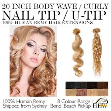 Hair Extensions U Tip by 20 Inch Nail U Tip Body Wave Curly 100 Remy Human Hair