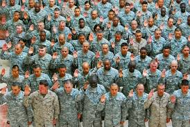 domain photo of a large of soldiers taking an oath