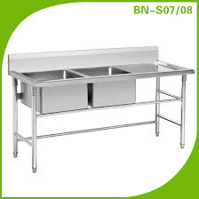 prep table with sink high quality stainless steel kitchen sink three pots removable type
