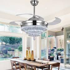 Kristall Len Modern Shop Ceiling Fans Led Chandelier Fan Lights
