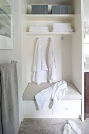 bathroom built in storage ideas cozy bathroom nook with built in storage bench topped with a greige
