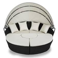 meuble canapé lit canapé lit 4 coussins noir et crème meubles jardin