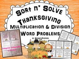sort n solve thanksgiving multiplication division word problems