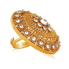 finger ring design buy combo of 4 royal design studded finger ring in gold finish