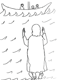 Jesus Walks On Water Coloring Page Bible Story Coloring Page For Children Bible Stories Coloring Pages