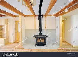 old fashioned wood burning stove roaring stock photo 112616993