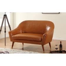 Modern Loveseat Mid Century Modern Bonded Leather Living Room Loveseat Walmart