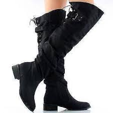 womens boots size 12 wide calf the knee boots flat black wide calf leather ebay