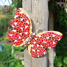 red coloured mosaic wall mountable butterfly garden wall art