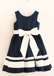 a line navy blue ivory stripe flower dress with a big satin bow