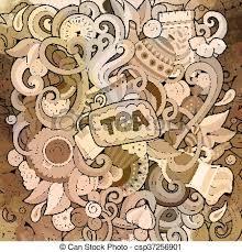 coffee shop background design cartoon hand drawn doodles of cafe coffee shop background