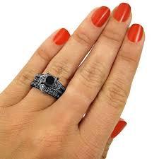 2 27ct black princess cut diamond heart engagement ring wedding