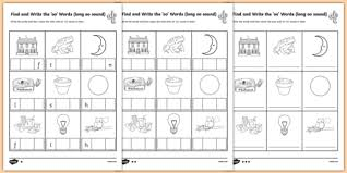 find and write the long oo sound words differentiated activity